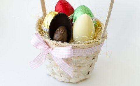 Пасхальная корзинка с шоколадом